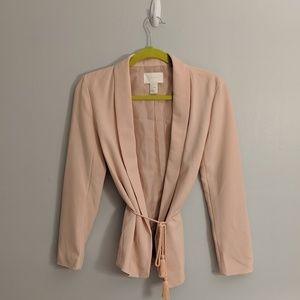 H&M Blush Pink Open Tassell Tie Front Blazer